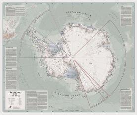 Large Executive Antarctica Wall Map Political (Pinboard)