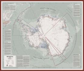 Large Executive Antarctica Wall Map Political (Pinboard & framed - Dark Oak)