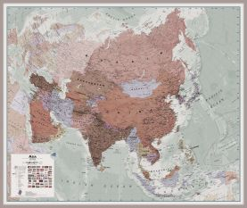 Large Executive Asia Wall Map Political (Pinboard & framed - Silver)