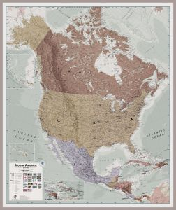 Large Executive North America Wall Map Political (Pinboard & framed - Silver)