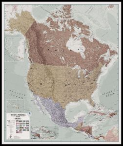 Large Executive North America Wall Map Political (Pinboard & framed - Black)