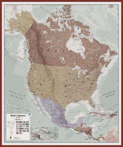 Large Executive North America Wall Map Political (Pinboard & framed - Dark Oak)