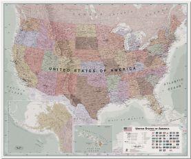 Huge Executive USA Wall Map (Pinboard)