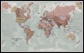 Huge Executive World Wall Map Political (Pinboard & framed - Black)