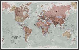Large Executive World Wall Map Political (Wood Frame - Black)