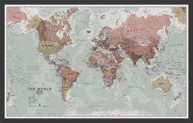 Medium Executive World Wall Map Political (Wood Frame - Black)