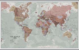 Large Executive World Wall Map Political (Hanging bars)