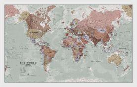 Medium Executive World Wall Map Political (Pinboard & wood frame - White)