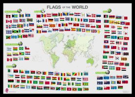 Flags of the World poster (Pinboard & framed - Black)
