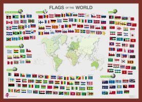 Flags of the World poster (Pinboard & framed - Dark Oak)
