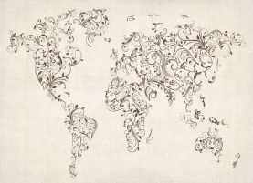 Floral Swirls Map of the World