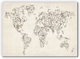 Extra Small Floral Swirls Map of the World (Canvas)