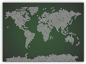 Large Football Balls Map of the World (Canvas)