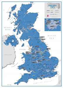 Football Fan's Football Grounds Map Blue (Pinboard & wood frame - White)