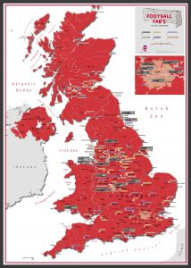 Football Fan's Football Grounds Map Red (Wood Frame - Black)