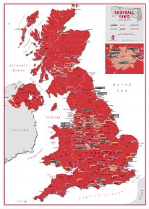 Football Fan's Football Grounds Map Red (Pinboard & wood frame - White)