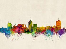 Fresno California Watercolour Skyline