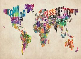German Text Art Map of the World