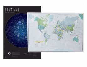 Glow in the Dark Pack of 2 Maps: World Map & Star Map (Silk Art Paper)