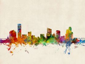 Grand Rapids Michigan Watercolour Skyline