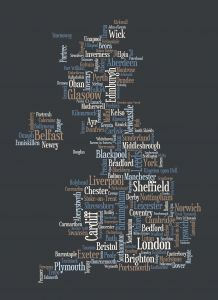 Great Britain UK City Text Art Map - Black