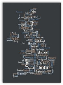 Extra Small Great Britain UK City Text Art Map - Black (Canvas)