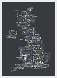 Small Great Britain UK City Text Art Map - Black (Wood Frame - White)