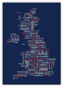 Extra Small Great Britain UK City Text Art Map - Blue (Canvas)