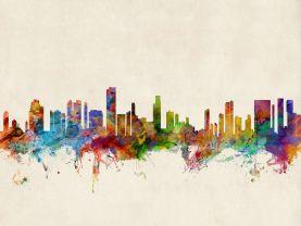 Honolulu Hawaii Watercolour Skyline