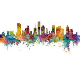 Houston Texas Watercolour Skyline