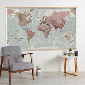 Huge Executive World Wall Map Political (Wooden hanging bars)