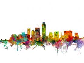 Indianapolis Indiana Watercolour Skyline