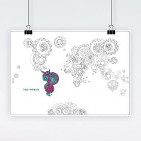 Intricate World Map Circles Colouring Poster for Adults (Paper)