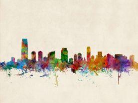 Jersey City New Jersey Watercolour Skyline