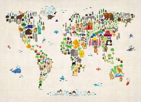 Huge Kids Animal Map of the World (Rolled Canvas - No Frame)