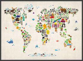 Large Kids Animal Map of the World (Wood Frame - Black)
