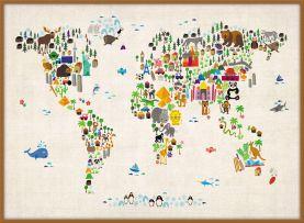 Large Kids Animal Map of the World (Wood Frame - Teak)