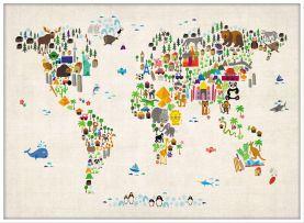 Large Kids Animal Map of the World (Wood Frame - White)