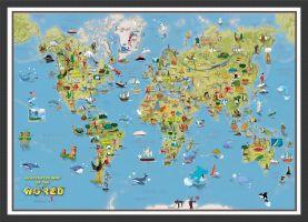 Kids Cartoon World Map (Wood Frame - Black)