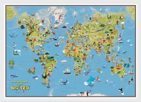 Kids Cartoon World Map (Wood Frame - White)