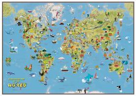 Kids Cartoon World Map (Silk Art Paper - Pack of 2)