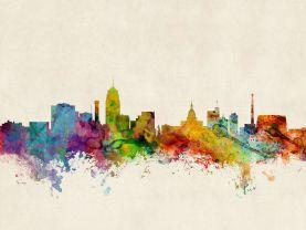 Lansing Michigan Watercolour Skyline