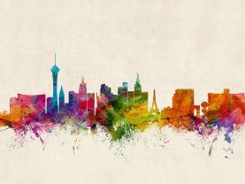 Las Vegas Nevada Watercolour Skyline