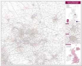 Leeds and Bradford Postcode Sector Map (Pinboard)