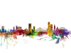 Liege Belgium Watercolour Skyline
