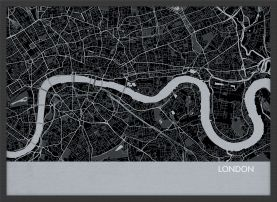 A4 London City Street Map Print Charcoal (Wood Frame - Black)