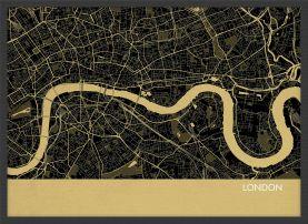 A4 London City Street Map Print Straw (Wood Frame - Black)