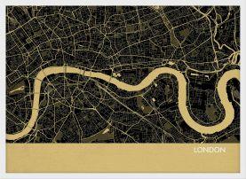 A4 London City Street Map Print Straw (Wood Frame - White)