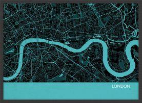 A4 London City Street Map Print Turquoise (Wood Frame - Black)
