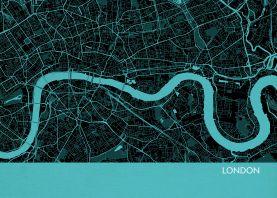 A4 London City Street Map Print Turquoise (Matt Art Paper)